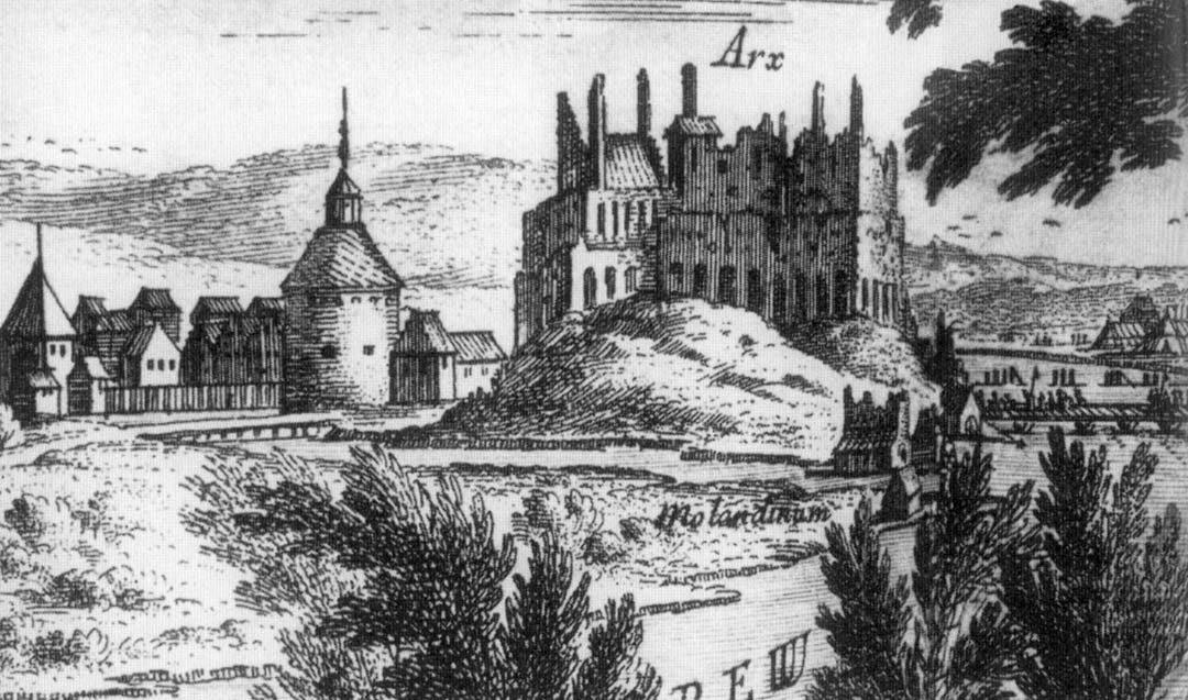 widok zamku w 1657 roku wg E.Dahlberga