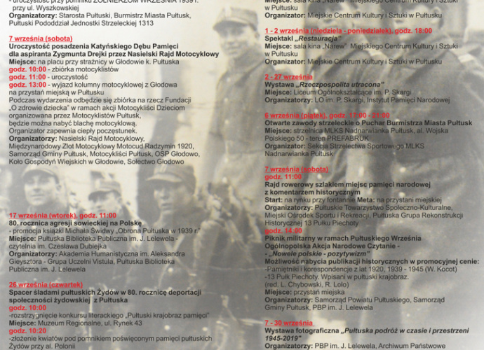 Pułtuski Wrzesień plakat z programem