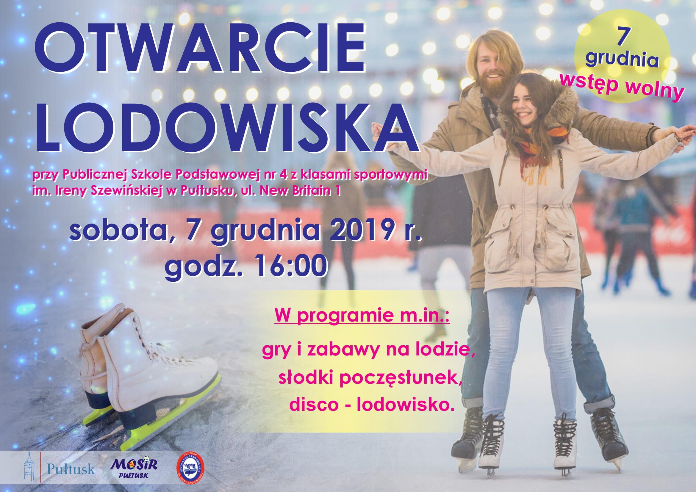 Plakat na otwarcie lodowiska