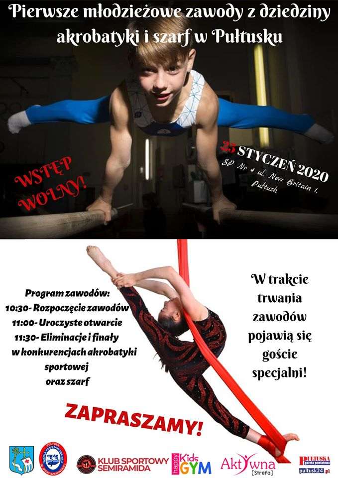 plakat – zaproszenie na zawody w akrobatyce