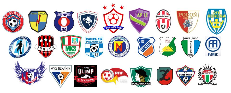 druzyny biorące udział w turnieju - loga klubów