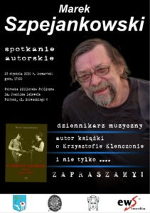 "LITERACKI CZWARTEK - promocja książki Marka Szpejankowskiego ""Krzysztof Klenczon. Polski John Lennon"""