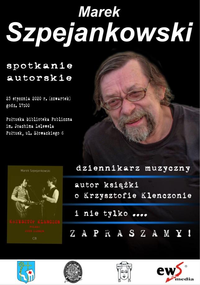 plakat na spotkanie zaproszenie na wieczór z Markiem Szpejankowskim