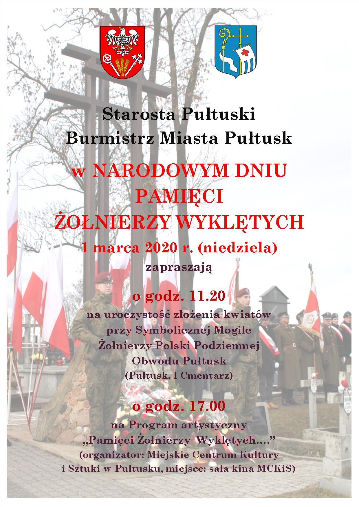 Zapraszamy na uroczystości z okazji Narodowego Dnia Pamięci Żołnierzy Wyklętych