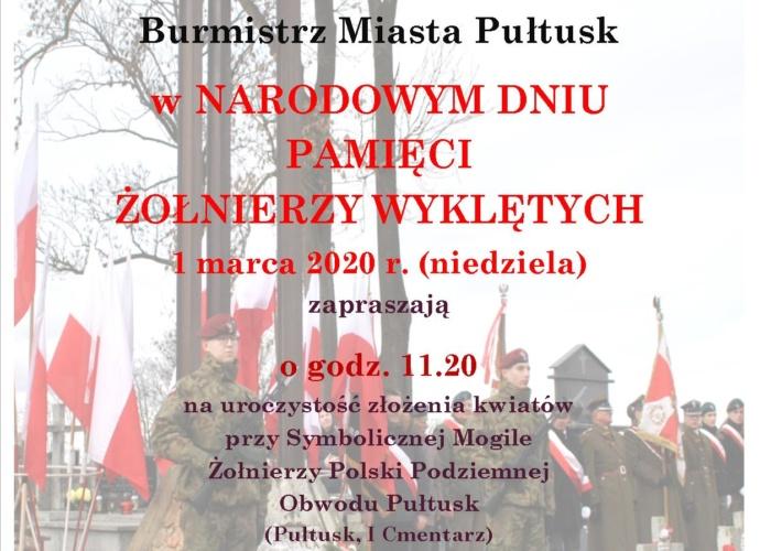 Zaproszenie na obchody Narodowego Dnia Pamięci Żołnierzy Wyklętych kliknij