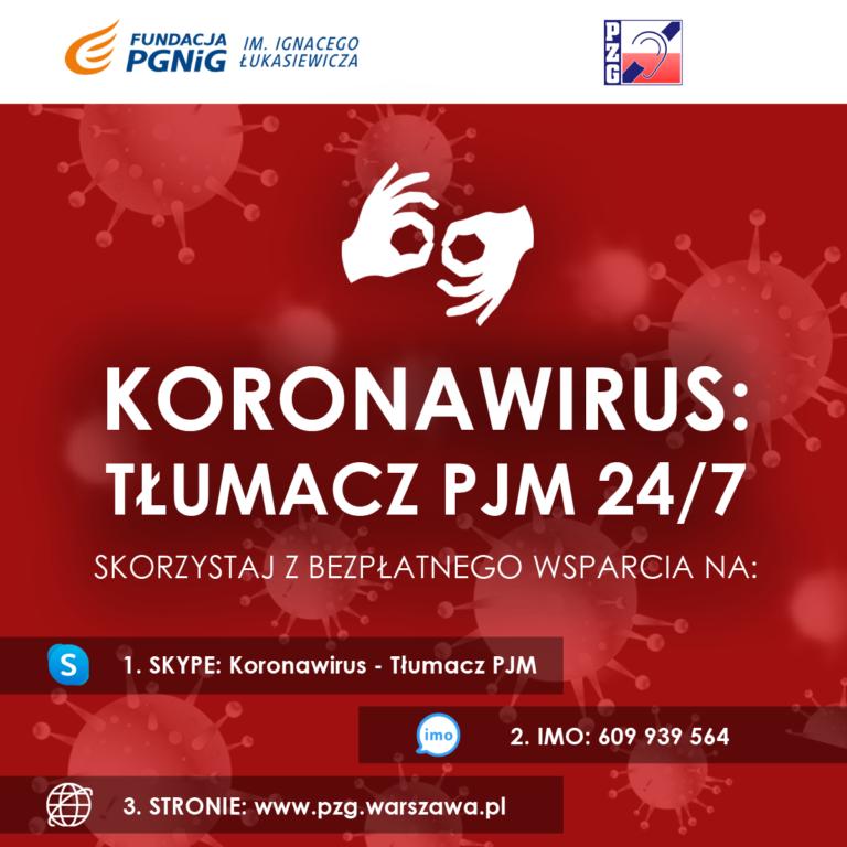 Koronawirus – Tłumacz PJM dla całej Polski - kliknij