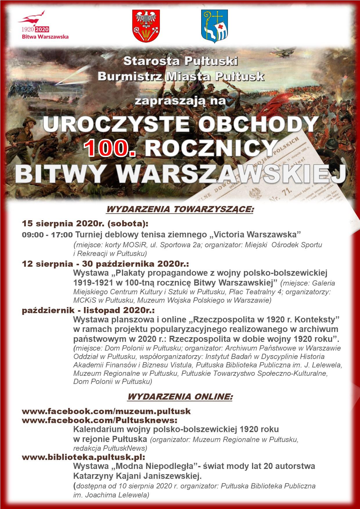 Plakat 100. rocznica Bitwy Warszawskiej - wydarzenia towarzyszące