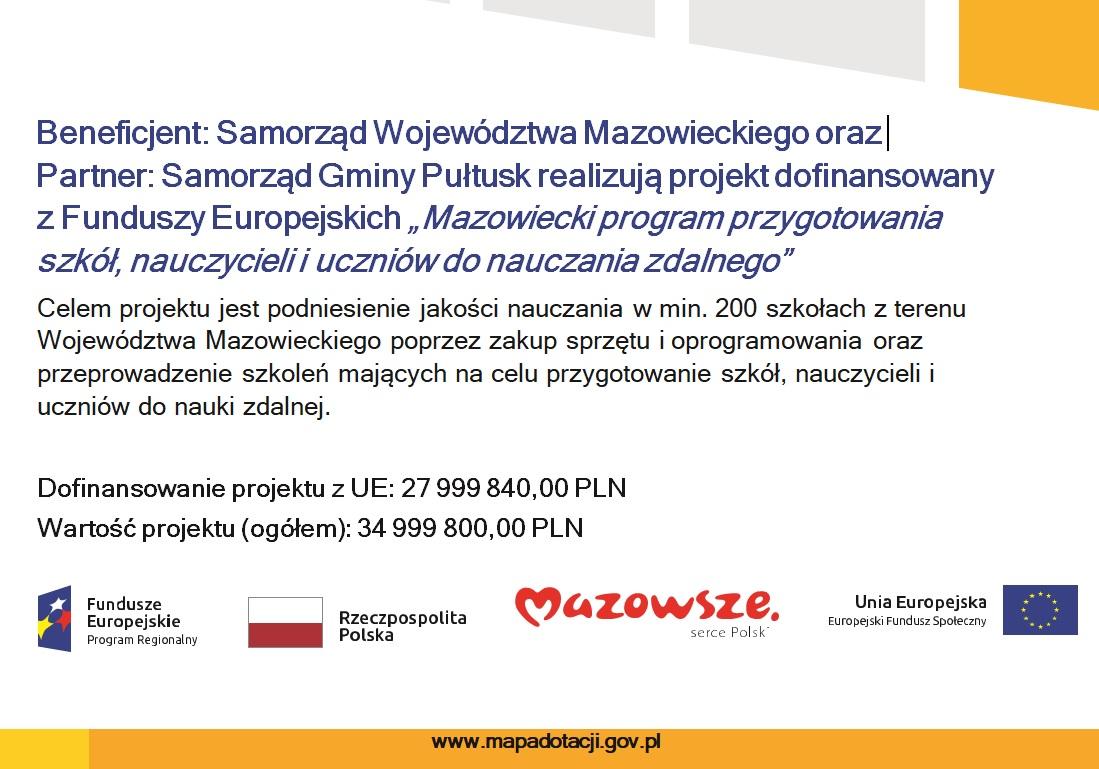 baner na www Mazowiecki Program przygotowania szkół, nauczycieli i uczniów do nauczania zdalnego