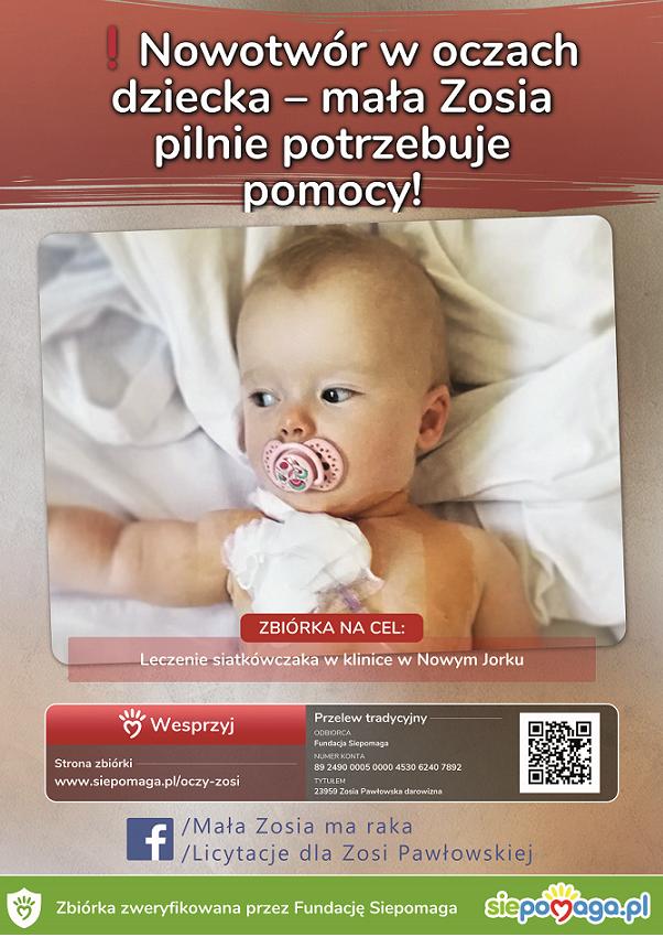 Walczmy razem o zdrowie małej Pułtuszczanki- Zosi Pawłowskiej