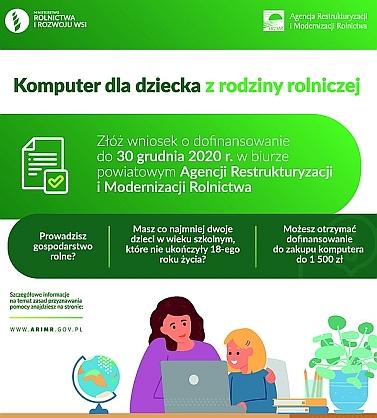 Plakat do akcji komputer dla dziecka z rodziny rolniczej