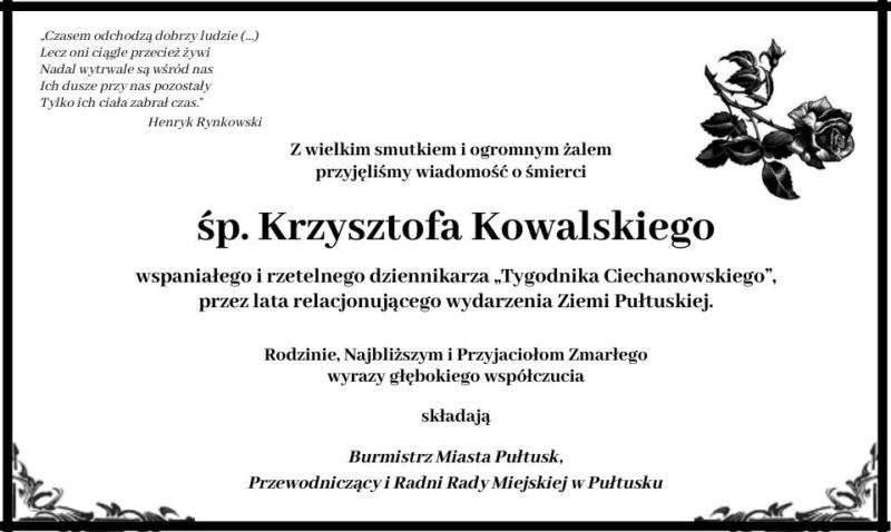 kondolencje Krzysztof Kowalski