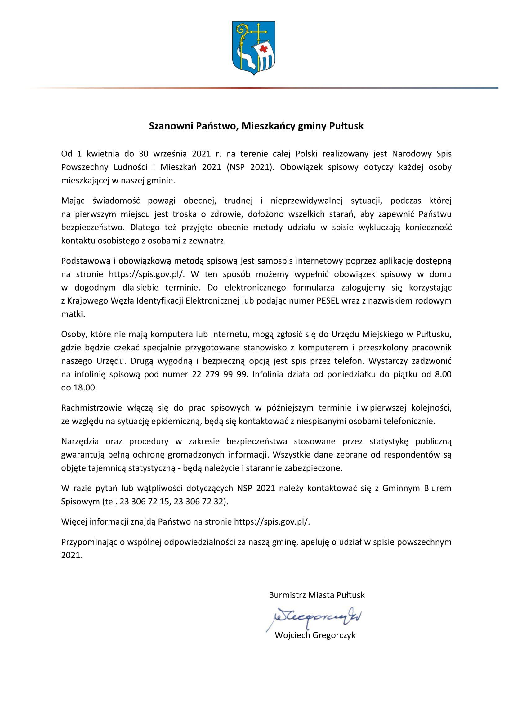 List do mieszkańców w sprawie obowiązkowego udziału w Narodowym Spisie Powszechnym