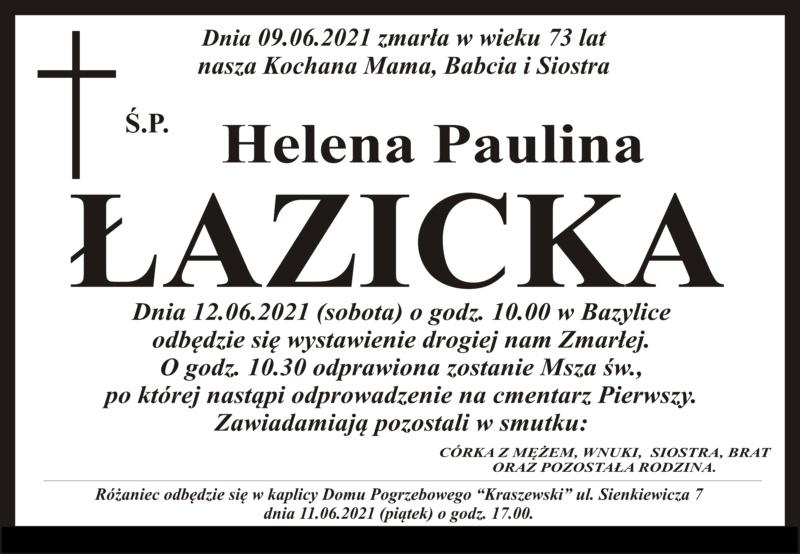Nekrolog Dom pogrzebowy Kraszewski Pułtusk, Helena Paulina Łazicka